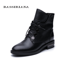 BASSIRIANA / 2019 autumn and winter new ankle boots zipper ladies leather natural wool warm womens shoes free shipping