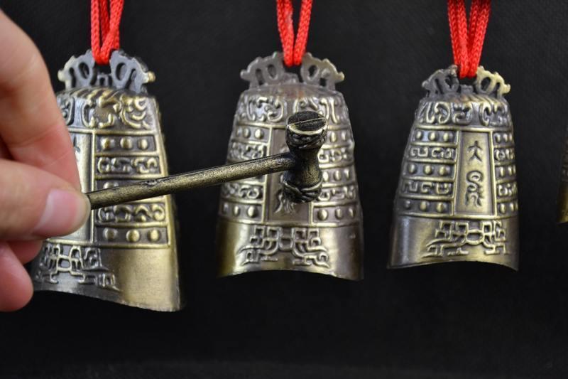 Pirinç qədim Çin musiqi alətində Çin Tibet dragon glockenspiel - Ev dekoru - Fotoqrafiya 5