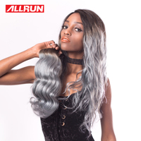 ALLRUN Straight Ombre Brazilian Hair Weave Bundles Grey Non Remy Hair 100 Human Hair Extensions Free