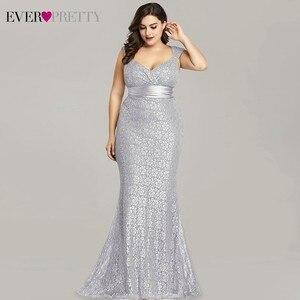 Image 2 - Vestidos דה פיאסטה 2020 פעם די חדש אלגנטי בת ים V צוואר שרוולים תחרה שמלות נשף בתוספת גודל המפלגה שמלת חלוק דה soiree