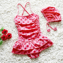 Infants children's swimwear girls swimsuit skirt kids funny dotted braces Spandex bathing suit with swimming cap