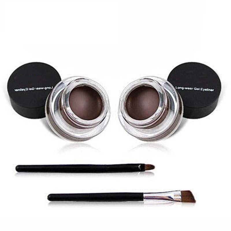 Make up 2in1 Coffee + Black Gel naturel Eyeliner Make Up Waterproof Smudge-proof Cosmetics Set Eye Liner Kit in Eye Liner Makeup