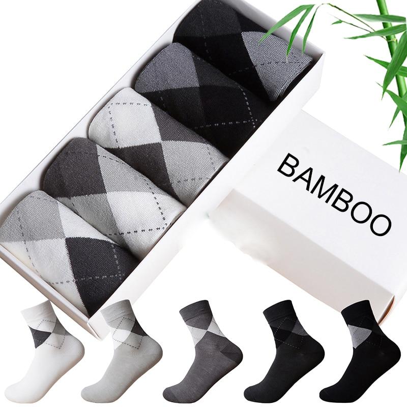 5 Pairs New Bamboo Fiber Socks Men Business Brand Big Diamond Shape Breathable Deodorant Dress Socks For Men Clothes cheap price