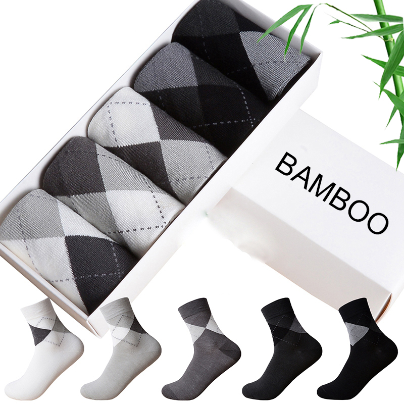 5 Pairs New Bamboo Fiber Socks Men Business Brand Big Diamond Shape Breathable Deodorant Dress Socks For Men Clothes Cheap Price