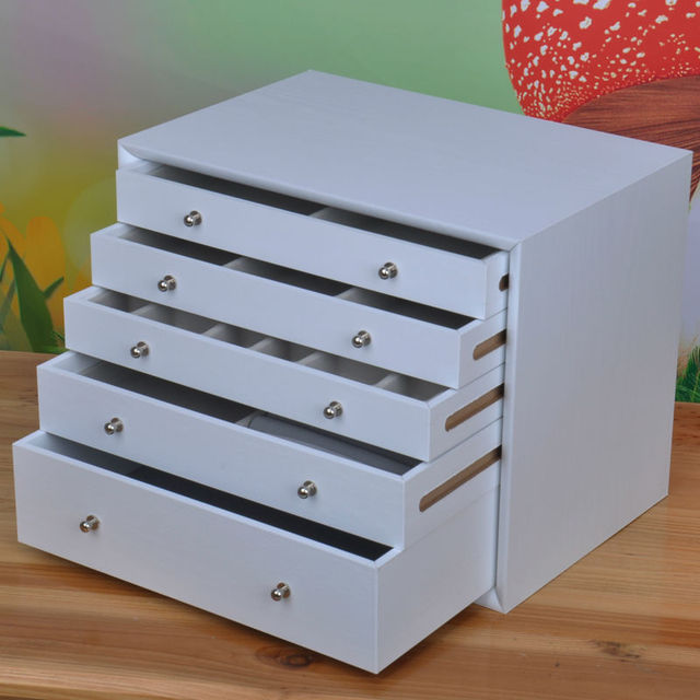 5 Drawer Wood Storage Drawr Jewelry Box Wooden Makeup Necklace Earring Ring Gift Trinket Holder