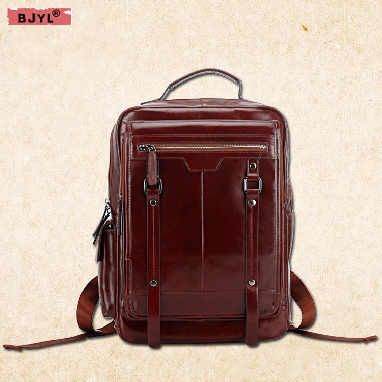 BJYL New fashion Men backpacks large capacity laptop bag genuine leather shoulder bags male Retro travel Backpack yishen vintage genuine leather men backpack large capacity male shoulder bag with laptop case fashion men travel bags msxy20179