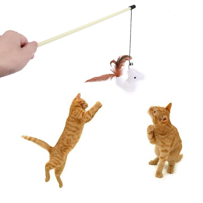 1PC Cat Toys White Doll Feather Stick Rod Toy for Cat Kitten Funny Playing Interactive Toy Cat Products Pet Supplies