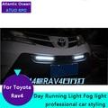 AUTO PRO para Toyota RAV4 LED DRL Car Styling Para Toyota RAV4 nevoeiro estacionamento LEVOU luzes diurnas de condução de luz tampa