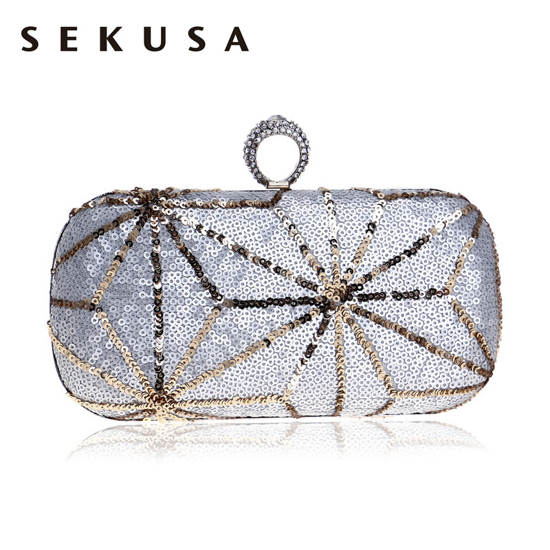 SEKUSA Sequined Women Evening Clutch Bag Finger Ring Rhinestones Lady Handbags Crystal Small Star Purse Evening Bags sekusa finger ring diamonds women evening bag simple chain shoulder handbags mixed crystal wedding evening clutch bag