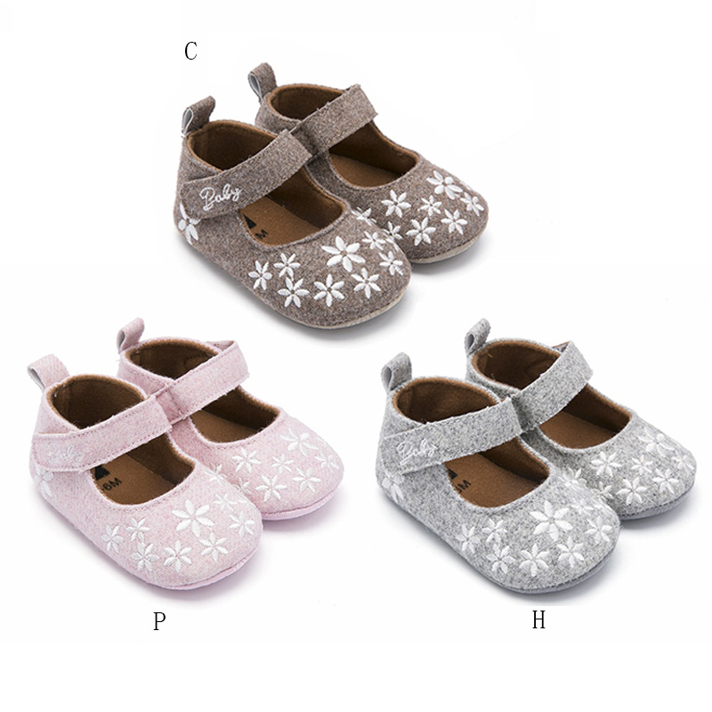 Spring Newborn Baby Girl Shoes Princess With Flowers Toddler Crib Infant Little Kid First Walker Shoes 3-12M