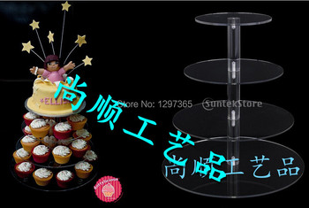 Free shipping Elegant Style Fine Acrylic 4 Tier Cupcake Stand of Made in China