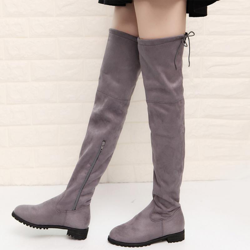 f03dbab90d4 New Autumn Women Over-knee Fashion Side Zipper Casual Winter Elastic Boots  Round Head Frye Boot