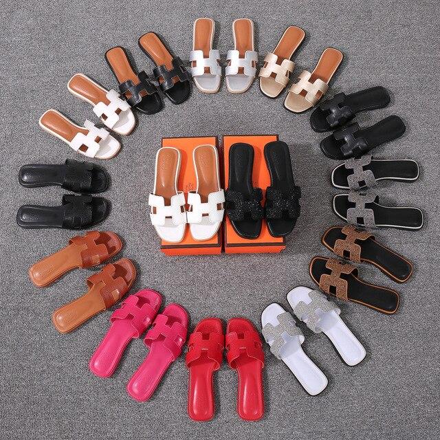 Frauen Sommer cut out damen sandalen damen Luxus marke sandalen gute qualität flache schuh Candy Farbe Outdoor Urlaub Rutschen 34 -43
