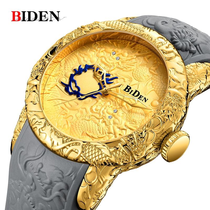 Hommes Montre BIDEN Top marque de luxe or dragon montre hommes quartz wristwatche Grand cadran Sport étanche montre homme relogio masculino
