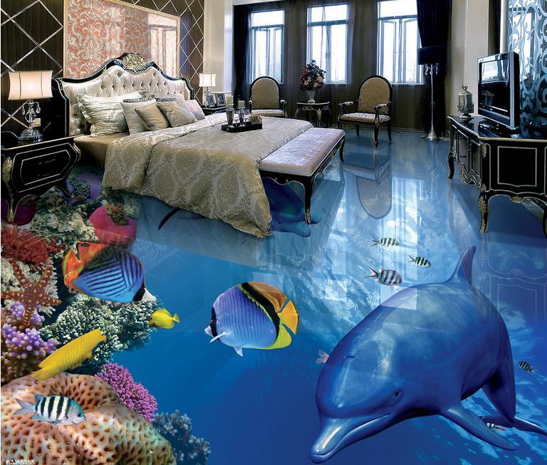 Pavimento 3d murale fernande pesci tropicali delfini 3d for Carta da parati impermeabile per cucina