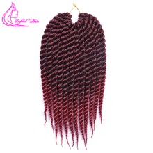 Рафинированные волосы 12 18 дюймов Гавана твист вязание крючком косы 12 корней черный бордовый Омбре волосы для косичек африканские плетеные волосы