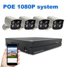 Sistema de Seguridad 4ch 4 UNIDS 1080 P POE Cámara IP Sistema NVR Set Sistema de Vigilancia CCTV 2MP Impermeable Plug and jugar