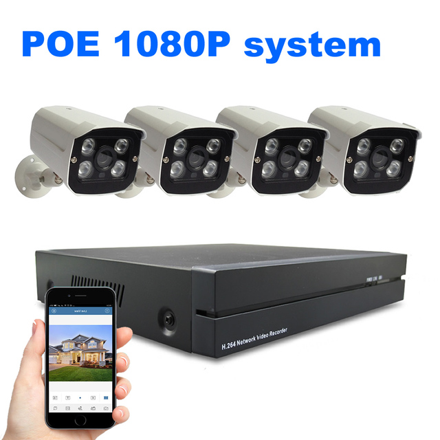 4ch Security System 4PCS 1080P POE IP Camera System NVR Set 2MP CCTV Surveillance System Waterproof Plug and Play