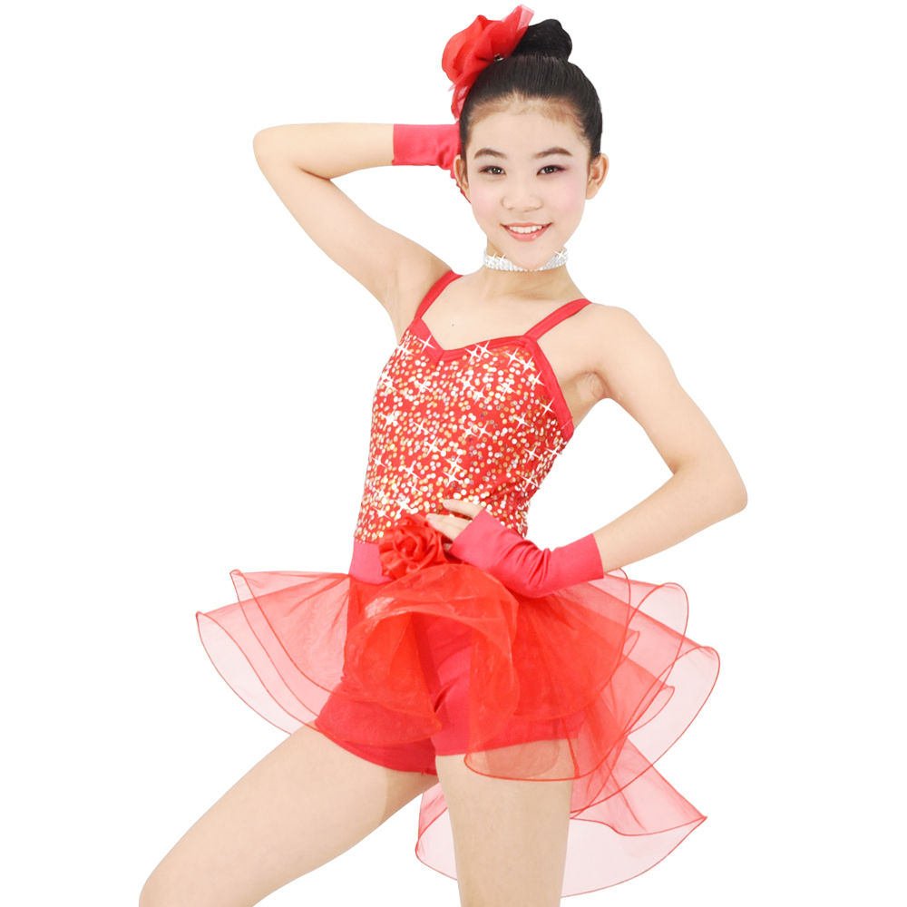 Obleka za ples plesalk MiDee High-Low Sequins Biketard Dance Costumes High-Low Pnevmatike za dekleta