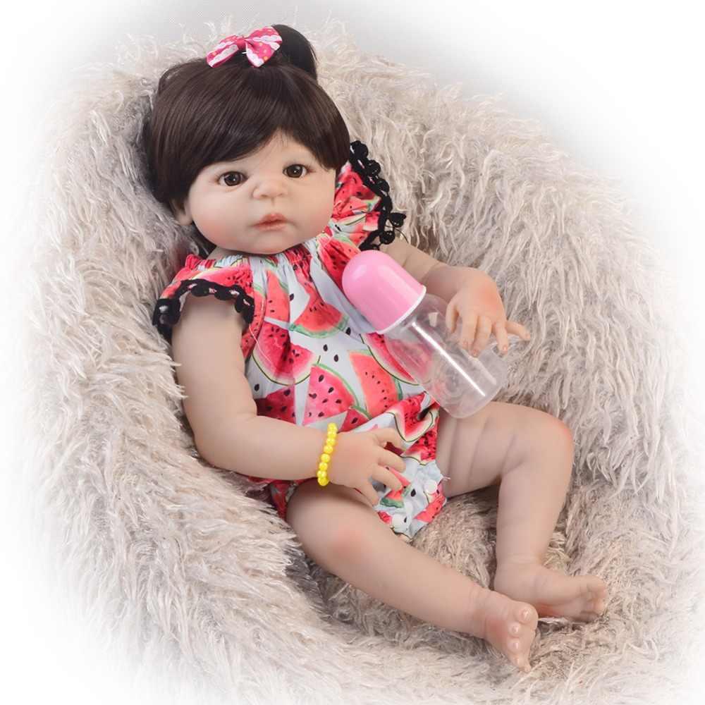 グッズ 23 ''57 センチメートルリボーン人形フルシリコーンボディ茶色の髪現実的な赤ちゃんのおもちゃ人形 lol ガールキッド誕生日ギフト就寝おもちゃ