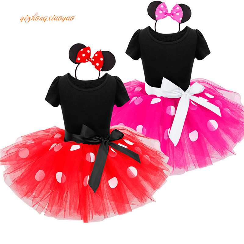 Kids Baby Girls Minnie Tutu Kjole med Øre Hovedbøjle Carnival Party Fancy Kostume Ballet Stage Performance Dance wear