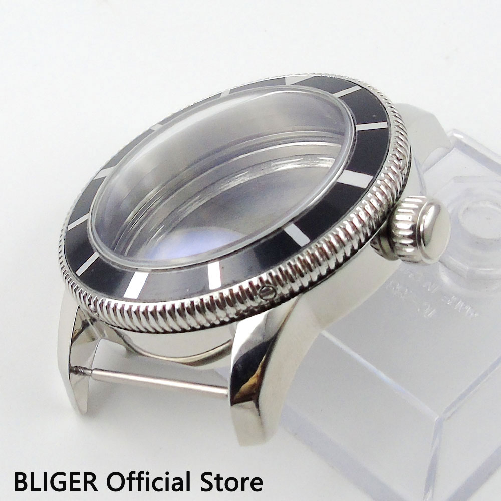 BLIGER 46MM Stainless Steel Watch Case Black Rotating Bezel Case Fit For ETA 2836 Automatic Movement C88