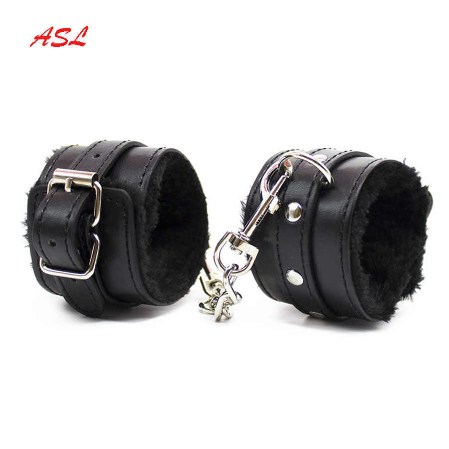 Leather Adjustable Heart Print Handcuffs-Role Playing
