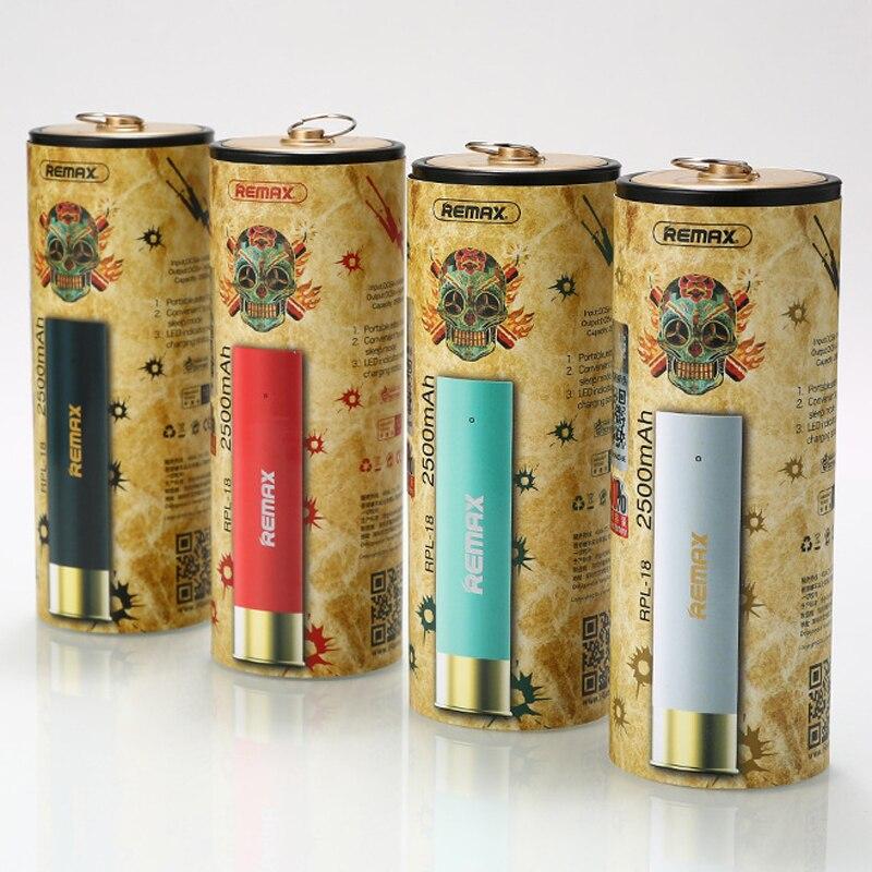 Remax 2400 mAh mini Bullet diseño Baterías portátiles respaldo extra Baterías portátiles paquete externo universal de la batería de reserva de emergencia rpl18