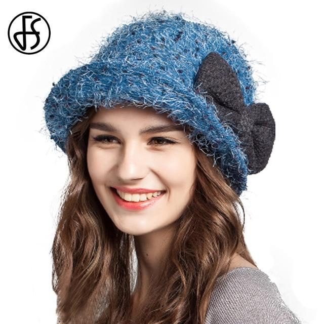 bf6903e7bc6 FS Fashion Winter Bucket Hat Women Wool Hats Foldable Blue Orange Green  Brown With Bow Ladies Warm Caps Sombrero De Pesca Mujer