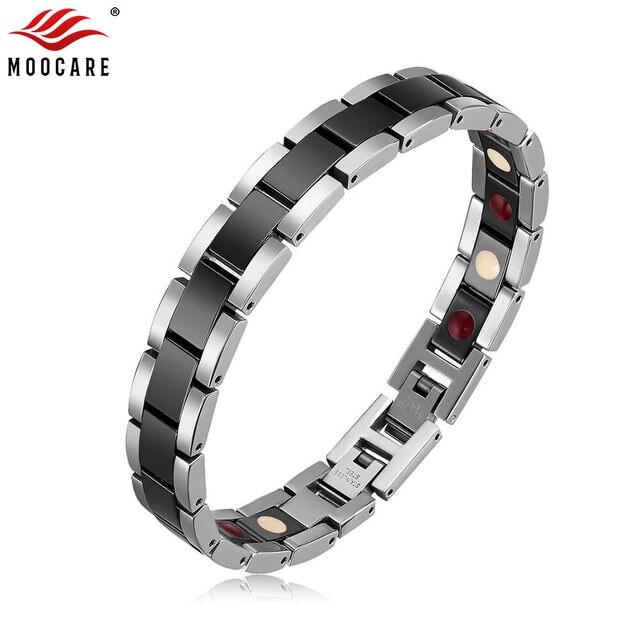 Moocare femmes hommes bracelet en acier inoxydable mâle femelle en céramique or argent couples magnétiques Germanium bracelets réglables