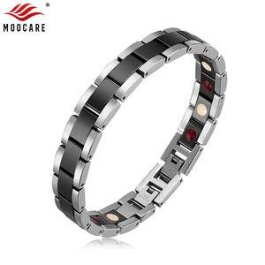 Image 1 - Moocare women men bracelet stainless steel male female ceramic gold  couples magnetic Germanium bracelets adjustable