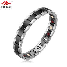Moocare women men bracelet stainless steel male female ceramic gold silver couples magnetic Germanium bracelets adjustable(China)