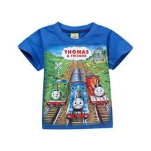 Oklady 2017 Summer New Boys T-shirt Cotton Short-sleeve Clothing Character Print Blue T-shirt for Children