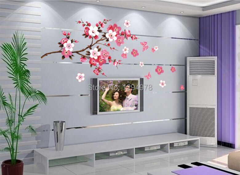 Aliexpress.com : Buy Pink Flowers Butterfly Bathroom Decor Removable Large  Wall Stickers Princess Love Room Decoration Wall Art Poster Mirror Decals  From ... Part 94