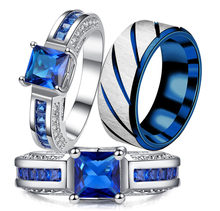 Charm Couple Rings His Her 316L Stainless Steel Princess Cut Blue CZ Anniversary Promise Wedding Engagement Ring Sets(China)