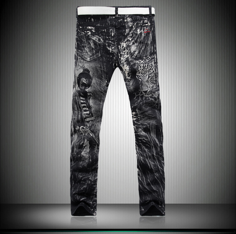 2018 Spring Autumn New Mens Skinny Jeans With Leopard Print Slim Fit Mid Waist Straight Black Jeans for Men Punk Desinger Style
