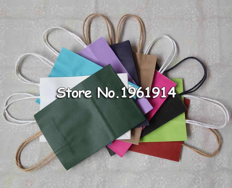 Saco de papel para compras em papel adesivo 10 pçs/lote, bolsa multifuncional diy com alças