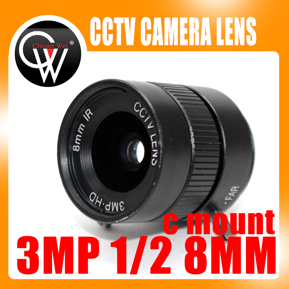 3MP HD 8mm lens Manual 1/2 Iris C Mount CCTV Camera Lens for HD Camera ip camera 3mp 4 18mm cctv lens manual iris varifocal 1 1 8 inch c mount industrial lens for imx185 1080p box camera ip camera
