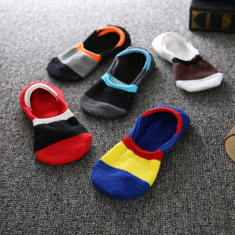 1pairs socks, slippers men show no 2018 thin invisible moccasins striped cotton anti odor socks men of high quality wholesale