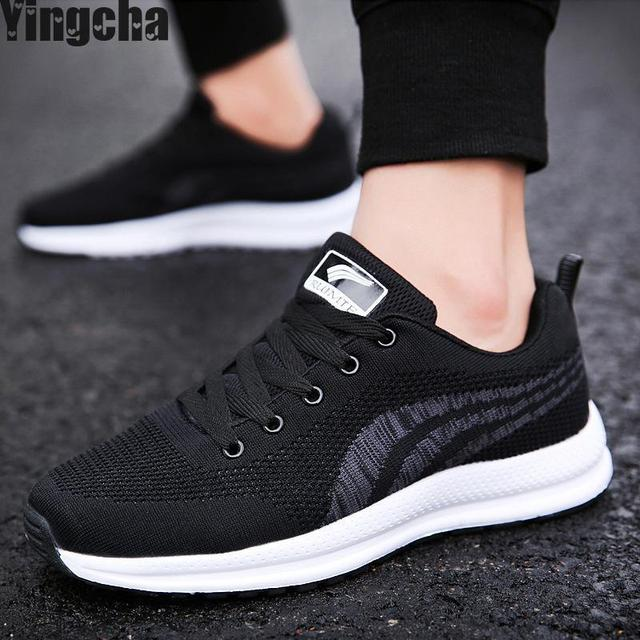 Shoes Mens Casual Shoes Fashion Lace-up Sneakers Breathable (Color : Black Size : 42)