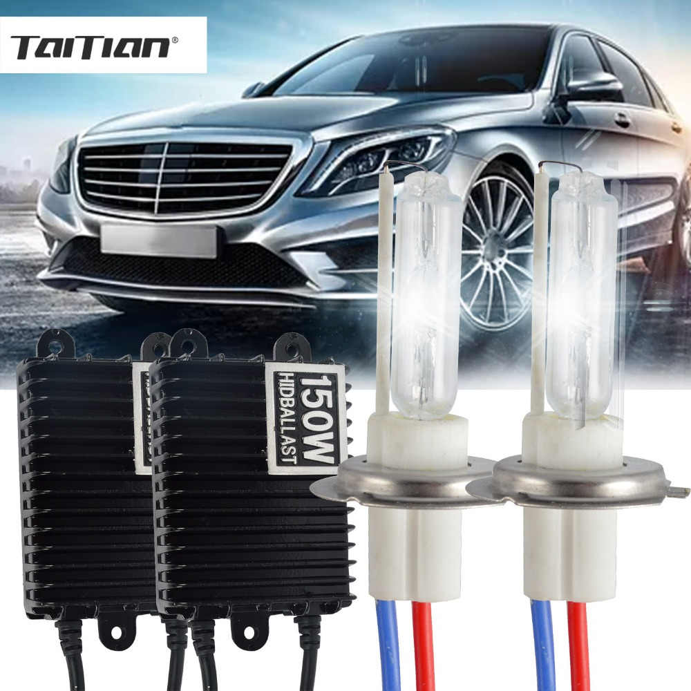 Taitian 2Pcs 12V bulb h3 150W Hid Xenon light bulbs H1 6000K Canbus h7 Car lamp h4 halogen xenon bi xenon kit light h11 HB3 2pcs hid conversion kit 9004 xenon headlight bulb replacement light 150w 6000k