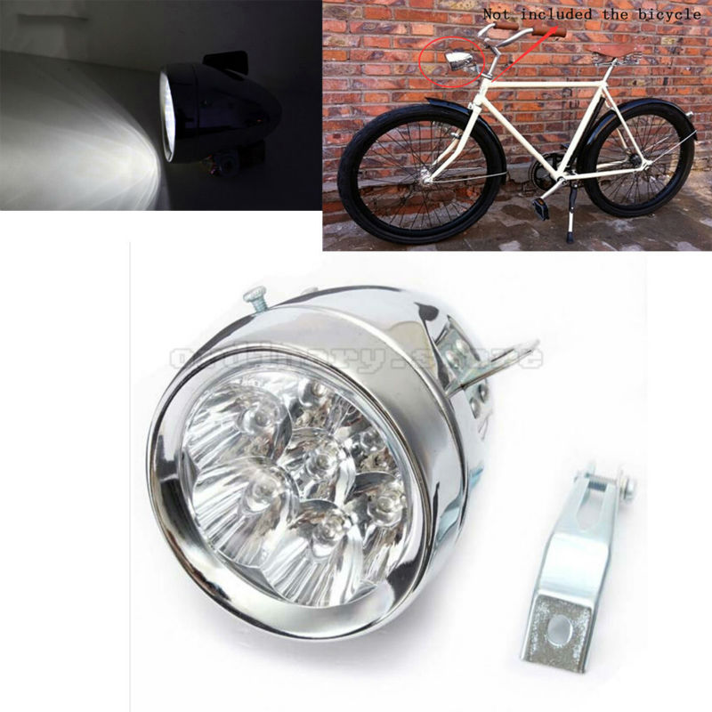 Super Bright 7 LED Metal Chrome Silver Vintage Motorcycle Bicycle Headlight Bike Front <font><b>Light</b></font> Retro Cycling Safe Night Head Lamp