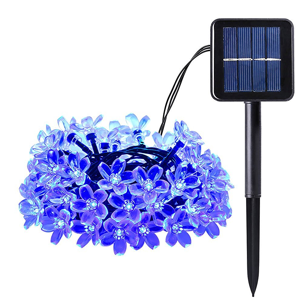 7M 50led Solar Flower String Lights Cherry Pendant Decoration Blossom Outdoor Garden Holiday Garland Wreaths Lights Waterproof