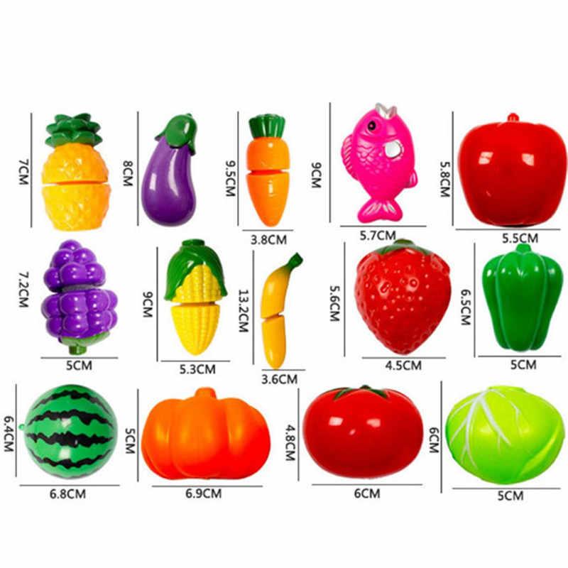 1 conjunto de brinquedos de cozinha do bebê plástico brinquedos de cozinha frutas vegetais corte crianças jogos de fantasia brinquedos educativos cozinhar cosplay