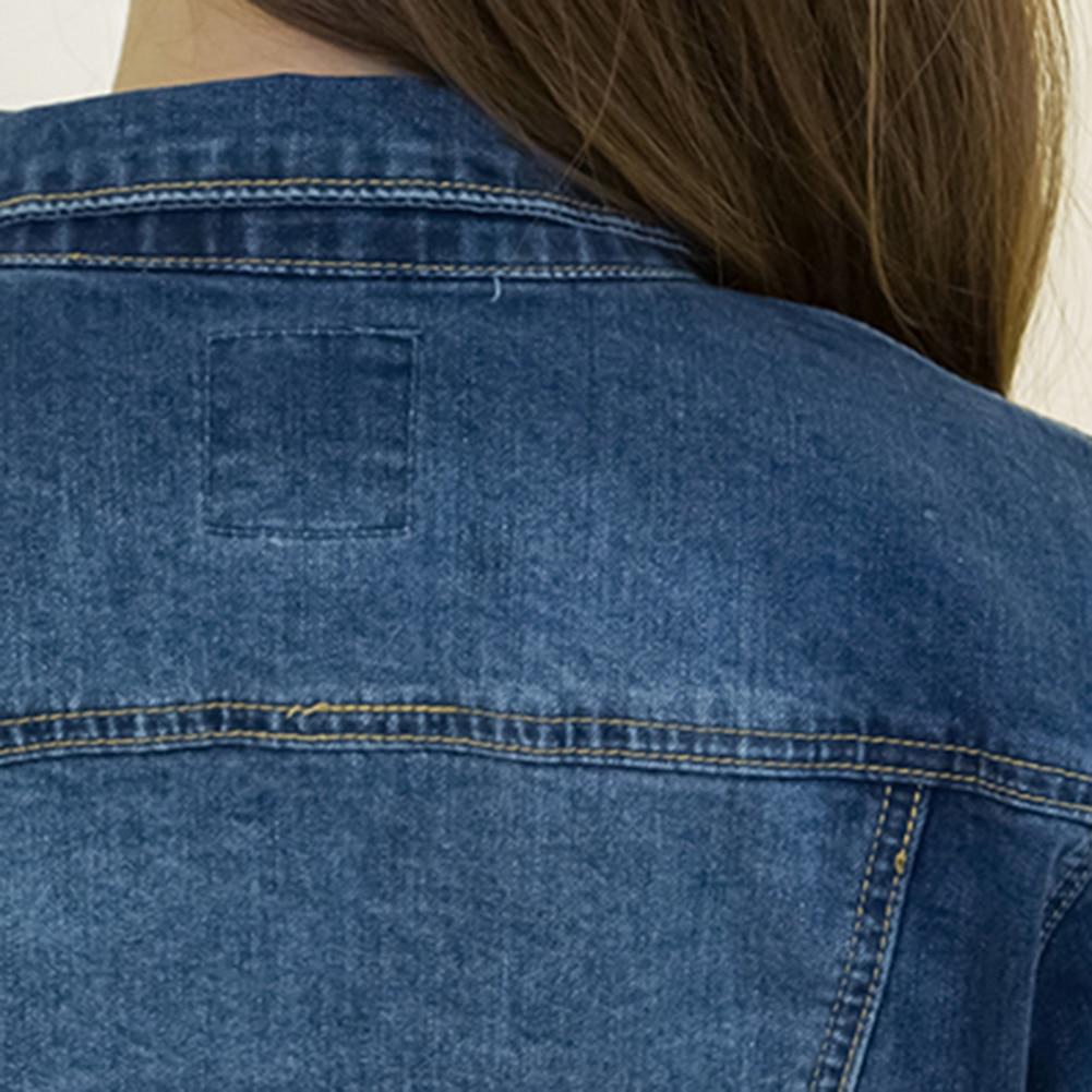 HTB1cFtUaUT1gK0jSZFrq6ANCXXa1 Women Short Jeans Jacket Slim Turn Down Collar Long Sleeve Button Denim Outwear New Chic Vintage