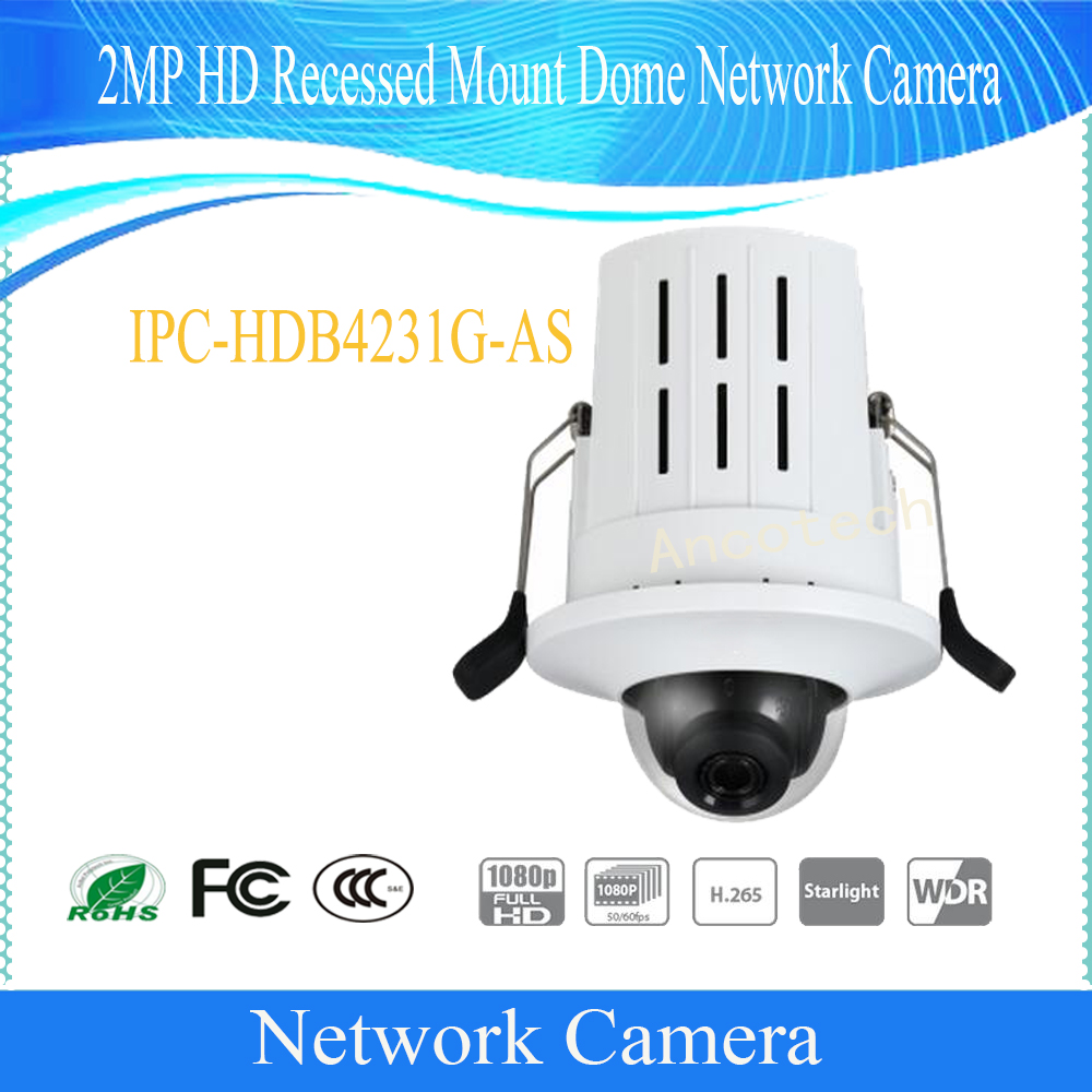 Free Shipping DAHUA 2MP HD Recessed Mount Dome Network Camera with POE Without Logo IPC-HDB4231G-AS free shipping dahua cctv camera 4k 8mp wdr ir mini bullet network camera ip67 with poe without logo ipc hfw4831e se