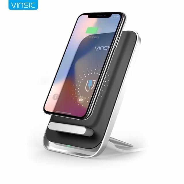 Vinsic QI беспроводной зарядки площадку с телефон подставка держатель Беспроводное зарядное устройство для iPhone X 8 8 плюс Samsung S8 S8 + Примечание 8 Nexus 7 6