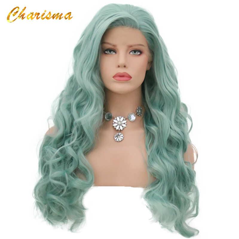 Peluca con malla frontal sintética carisma onda cuerpo largo 24 ''alta temperatura sin pegamento 150% densidad peluca parte lateral para mujeres en Stock
