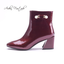 Buy burgundy patent boots and get free shipping on AliExpress.com 7ffa0828c43f
