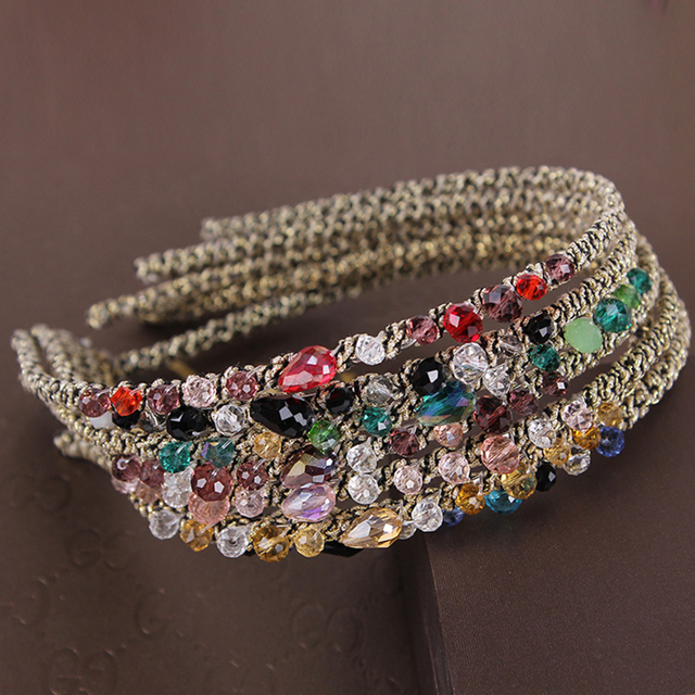 2019 Korean Fashion Crystal Rhinestone Hair Band for Women Hair Hoop Elastic Hair Ornaments Headdress Hair Accessories for Girls